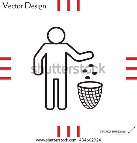 Silhouette of a man, throwing garbage in a bin, line icon