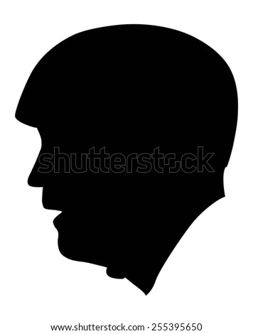 silhouette of a man wearing sports helmet. Vector.