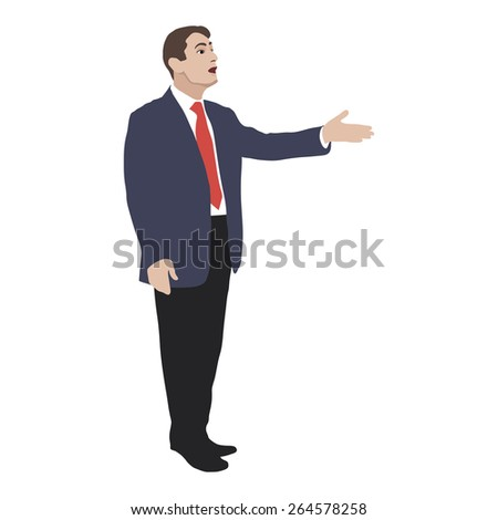 Silhouette of a man who speaks. In speaker gesture directed forward. Detailed study illustration. Element. Image. Vector. Icon. - stock vector