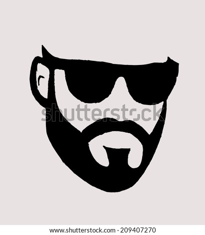 Silhouette of a man with a beard - stock vector