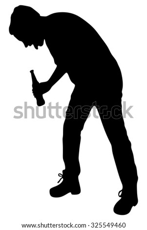 Silhouette of a man with a beer bottle, drunk man vomit - stock vector