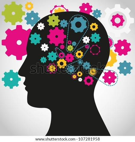 silhouette of a man with a gear mechanism in the head, vector illustration - stock vector