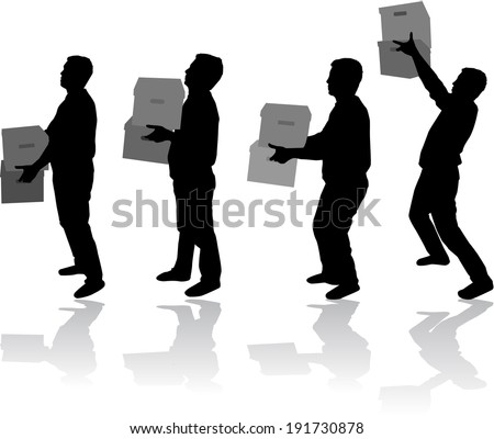 Silhouette of a man with boxes - stock vector