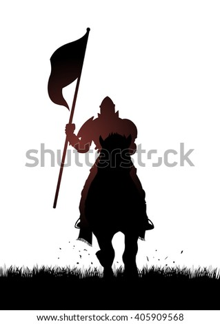 Silhouette of a medieval knight on horse carrying a flag - stock vector