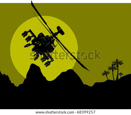 silhouette of a military helicopter in the night sky over the desert; - stock vector