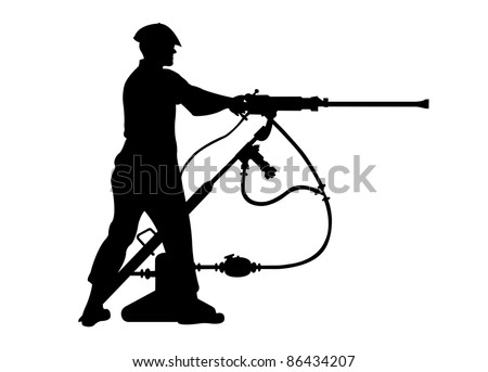 silhouette of a miner operating a jack-leg drill
