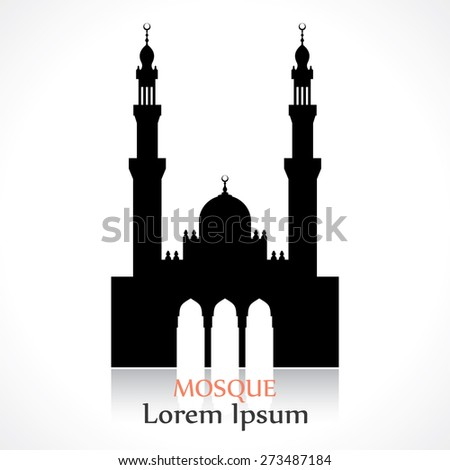 silhouette of a mosque - stock vector