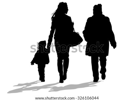 Silhouette of a mother and daughter on white background - stock vector