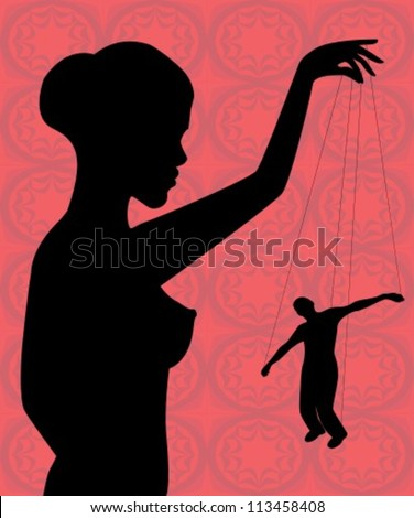 silhouette of a naked woman holding a man-puppet - stock vector