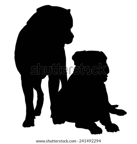 Silhouette of a pair of large dogs such as a Rotweiller, Bull Mastif or Bulldog - stock vector