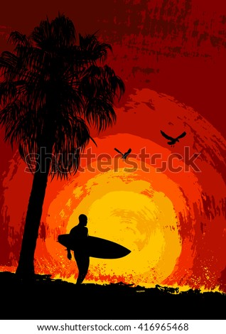 Silhouette of a palm tree and a surfer at sunset - stock vector