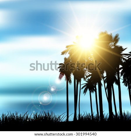 Silhouette of a palm tree landscape - stock vector