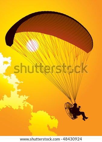 Silhouette of a paraglider at sunset - stock vector