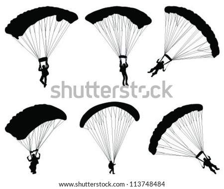 Silhouette of a paraglider-vector - stock vector