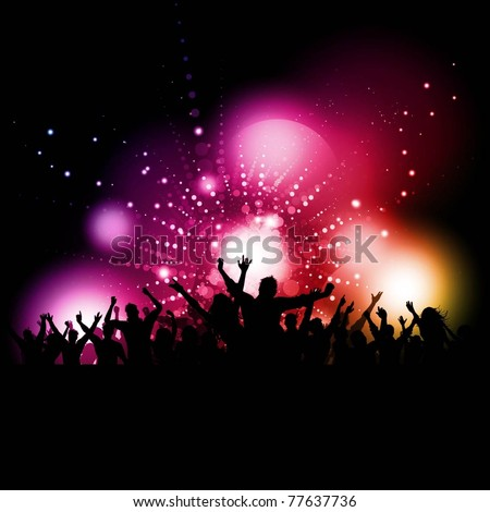 Silhouette of a party crowd on a glowing lights background