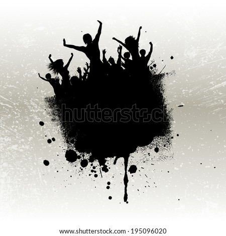 Silhouette of a party crowd on a grunge background  - stock vector