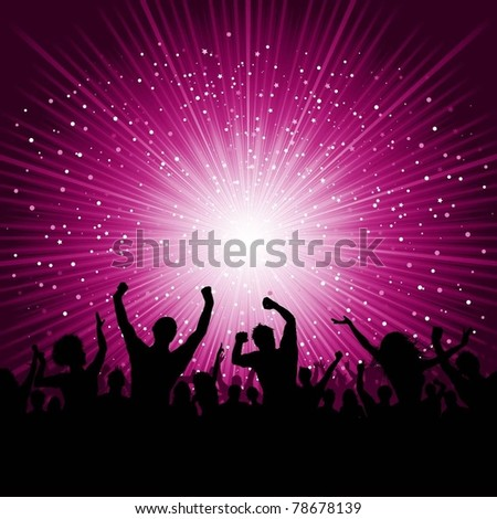 Silhouette of a party crowd on a starburst background - stock vector