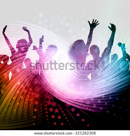 Silhouette of a party crowd on an abstract background with stars design - stock vector