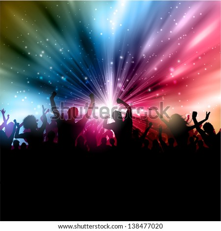 Silhouette of a party crowd on an abstract starburst background - stock vector