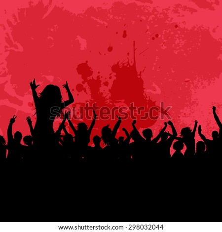 Silhouette of a party crowd on an auto-traced grunge background - stock vector