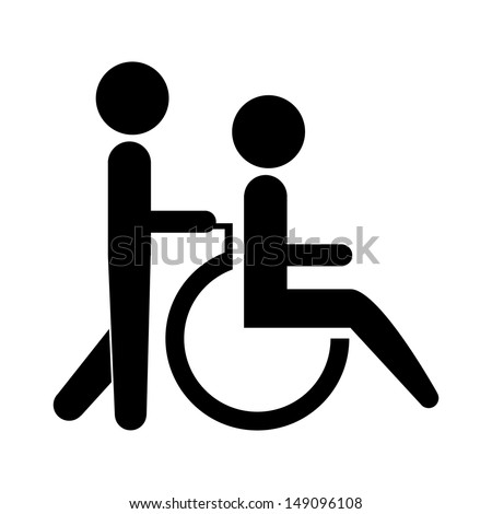 silhouette of a person helping another push a wheelchair. - stock vector