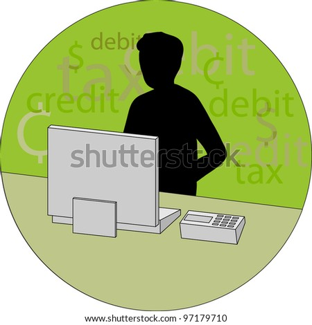 Silhouette of a person sat at a computer, financial words in the background. - stock vector