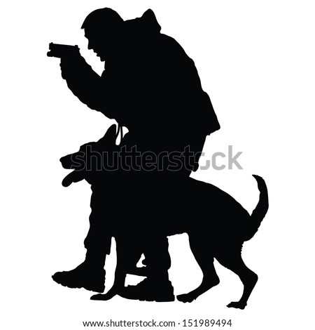 Silhouette of a police officer with a gun and his dog partner  - stock vector