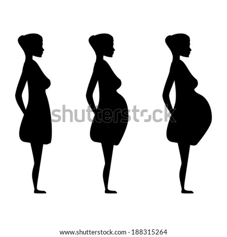 Silhouette of a pregnant woman in the three trimesters. Pregnancy stages - stock vector