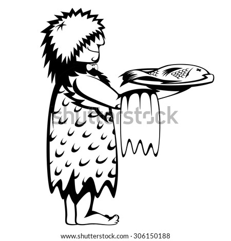 Silhouette of a prehistoric waiter with a tray and a fresh fish (cartoon style) - stock vector
