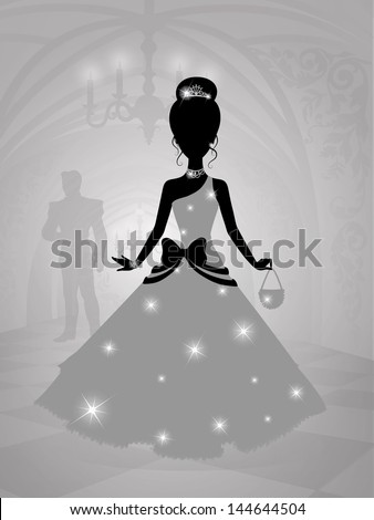 Silhouette of a princess in castle waiting for the prince. - stock vector