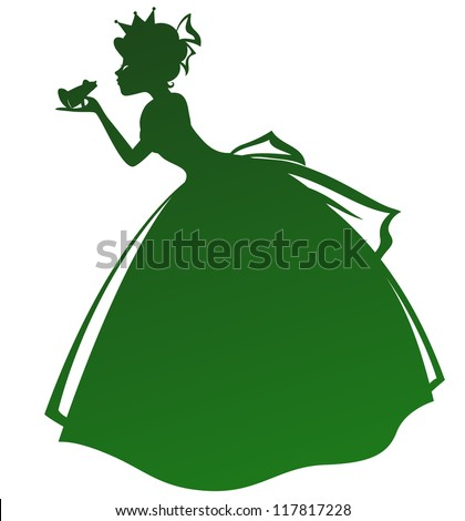 silhouette of a princess kissing a frog (vector available in my gallery) - stock vector