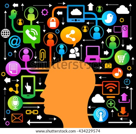 Silhouette of a profile of a man head. network and communication icons. Geometric shapes are connected by lines. Bright symbols and lines on a black background. Concept of multi-channel communication - stock vector