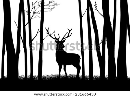 Silhouette of a reindeer in the woods - stock vector