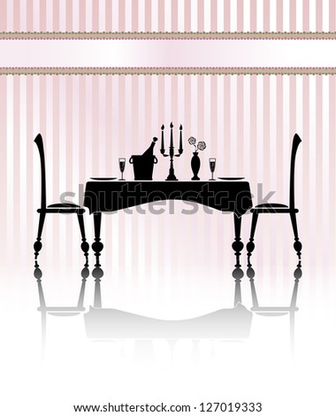 Silhouette of a romantic table setting for two. Black and white with reflection and pink candy stripe background. Banner for your text. EPS10 vector format
