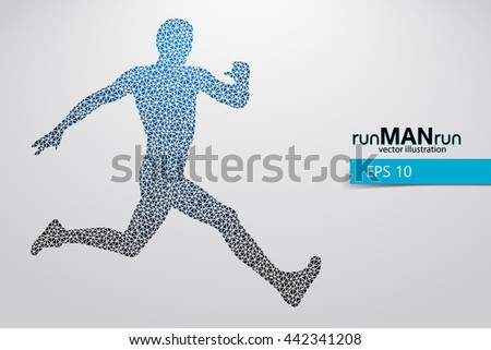 Silhouette of a running man from triangle. Text and background on a separate layer, color can be changed in one click. Running man