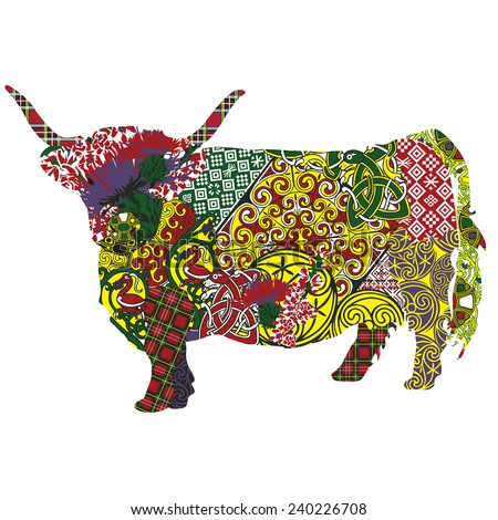 silhouette of a Scottish highland cow in Celtic patterns - stock vector