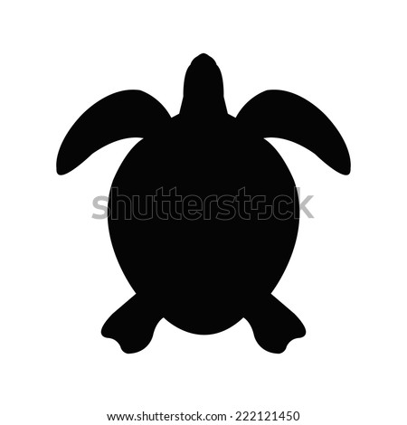 Silhouette of a sea turtle - stock vector