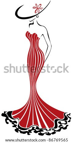 silhouette of a slender woman in a long red dress and hat - stock vector