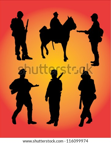Silhouette  of a soldier group. - stock vector