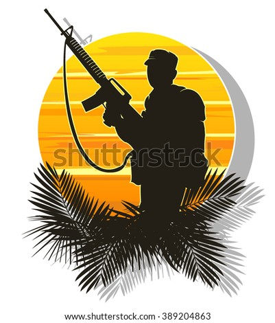 silhouette of a soldier on a background of the sun. vector illustration