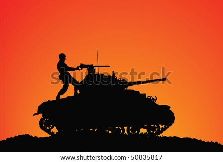 Silhouette of a soldier on the tank - stock vector
