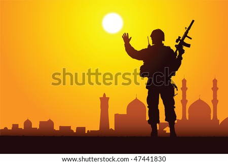 Silhouette of a soldier with mosques on the background - stock vector