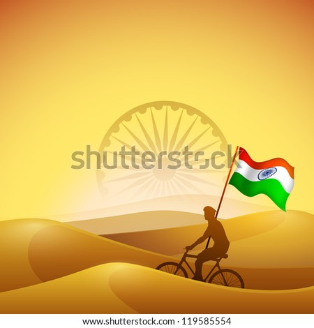 Silhouette of a solider on desert background with Indian National Flag waving. EPS 10. - stock vector
