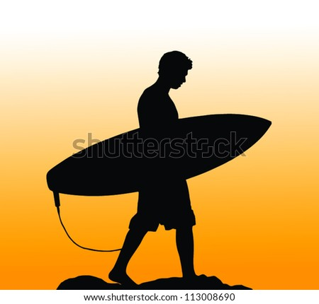 Silhouette Of A Surfer Carrying His Board Home At Sunset - stock vector