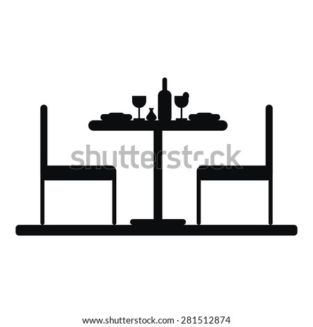Silhouette of a table setting for two. Black and white. Isolated on white background. - stock vector