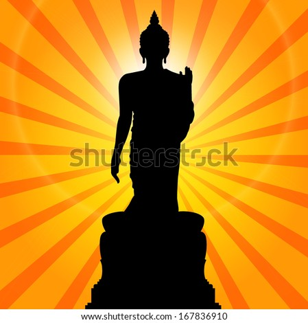 Silhouette of a Thai Buddha. - stock vector