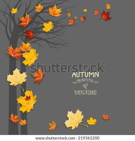 Silhouette of a tree and falling leaves with copy space - stock vector