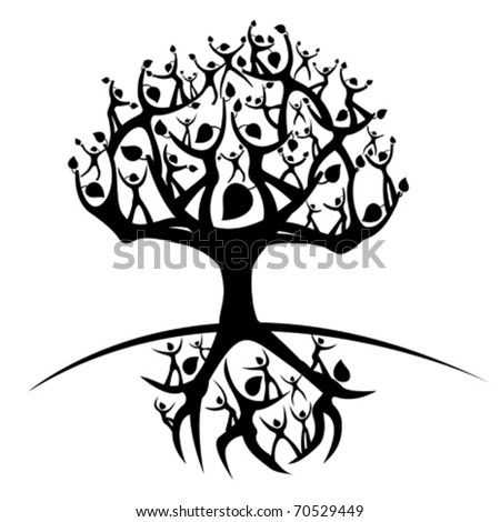 silhouette of a tree created from humanoid shapes - stock vector