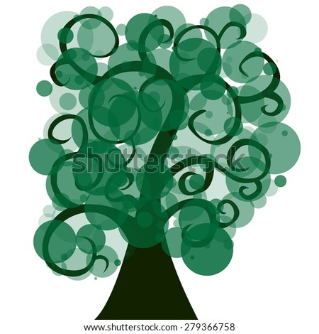silhouette of a tree with green foliage. vector illustration - stock vector