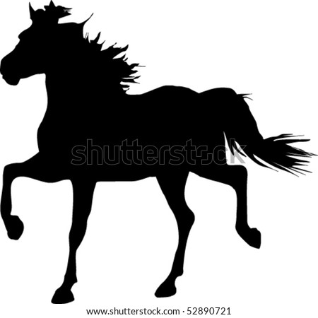 Silhouette of a trotting horse - stock vector